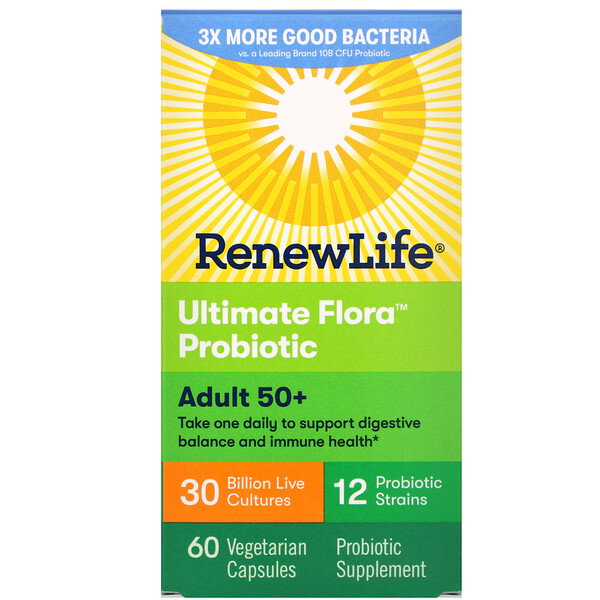 Renew Life, Пробиотик Ultimate Flora, для взрослых от 50 лет, 30 миллиардов живых культур, 60 вегетарианских капсул