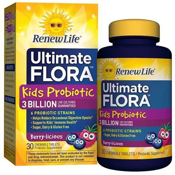 Renew Life, Пробиотики для детей, Ultimate Flora, ягодный вкус, 3 млрд. живых культур, 30 жевательных таблеток