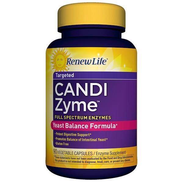 Renew Life, CandiZyme, направленного действия, 90 растительных капсул (Discontinued Item)
