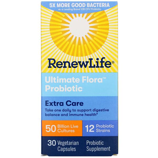 Renew Life, Пробиотики Extra Care, Ultimate Flora, 50 миллиардов живых культур, 30 растительных капсул (Discontinued Item)
