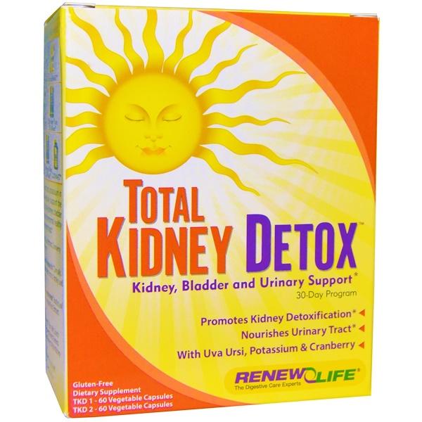 Renew Life, Total Kidney Detox, 30-дневный курс, 2 флакона, по 60 вегетарианских капсул в каждом (Discontinued Item)