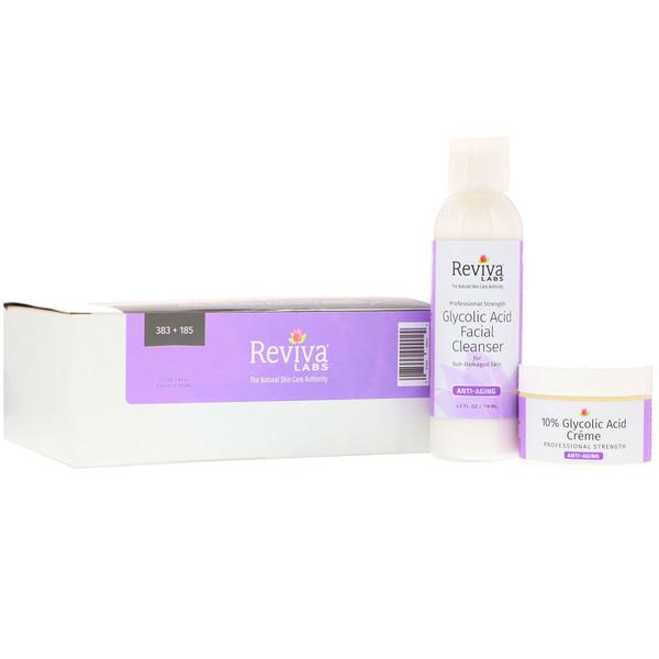 Reviva Labs, Крем с 10% гликолевой кислоты и очищающее средство для лица, комплект из 2 шт.