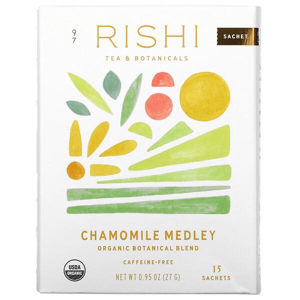 Rishi Tea, Organic Herbal Tea, Chamomile Medley, Caffeine-Free, 15 Sachets, 0.95 oz (27 g)