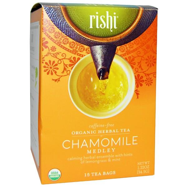 Органический травяной чай, смесь с ромашкой, без кофеина, 15 пакетиков, 1,22 унции (34,5 г)