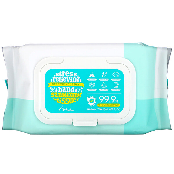 Ariul, салфетки для дезинфекции рук, эффективность 99,9%, алоэ вера, 80шт.