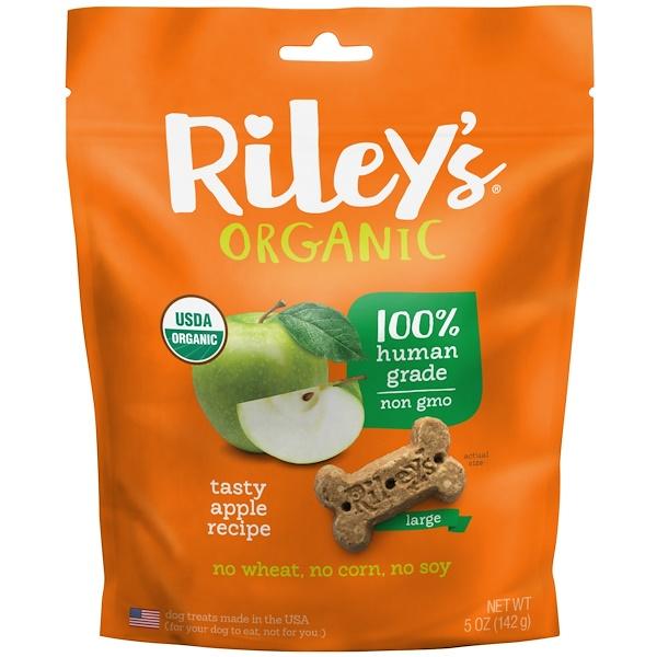 Riley's Organics, Лакомства для собак, большая косточка, рецепт со вкусным яблоком, 142 г (Discontinued Item)