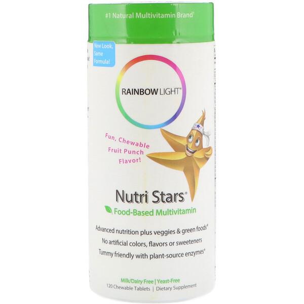 Rainbow Light, Nutri Stars, мультивитамины на основе пищевых продуктов, со вкусом фруктового пунша, 120 жевательных таблеток