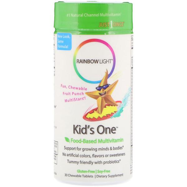 Rainbow Light, Kid's One, MultiStars, Пищевые мультивитамины, фруктовый пунш, 30 таблеток