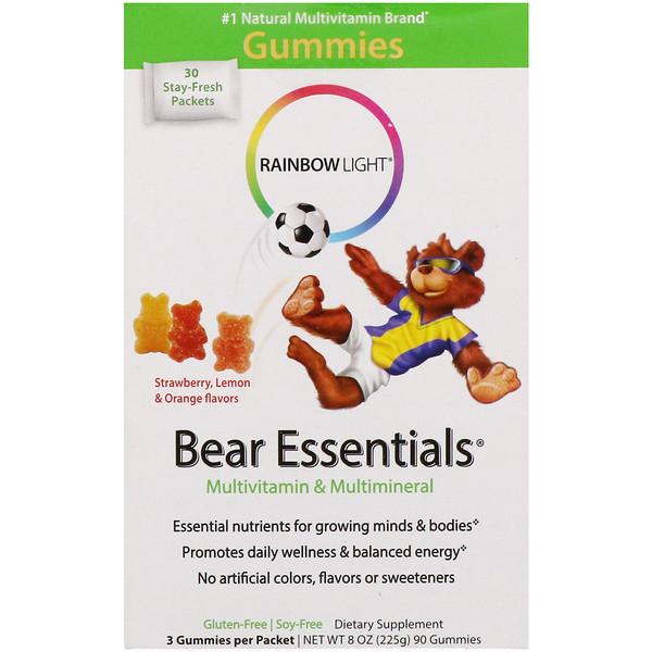 Rainbow Light, Bear Essentials, мультивитамины и мультиминералы, жевательные конфеты со вкусом клубники, лимона и апельсина, 30 пакетиков по 3 жевательных конфеты в каждом
