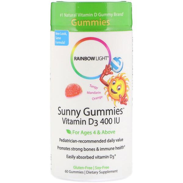 Rainbow Light, Sunny Gummies, витамин D3, терпкий мандарин и апельсин, для детей возрастом от 4 лет, 400 МЕ, 60 жевательных конфет