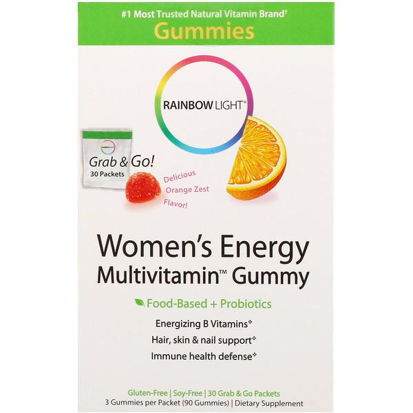 Rainbow Light, Энергетические жевательные мультивитамины для женщин, Восхитительный пикантный вкус апельсина, 30 пакетов