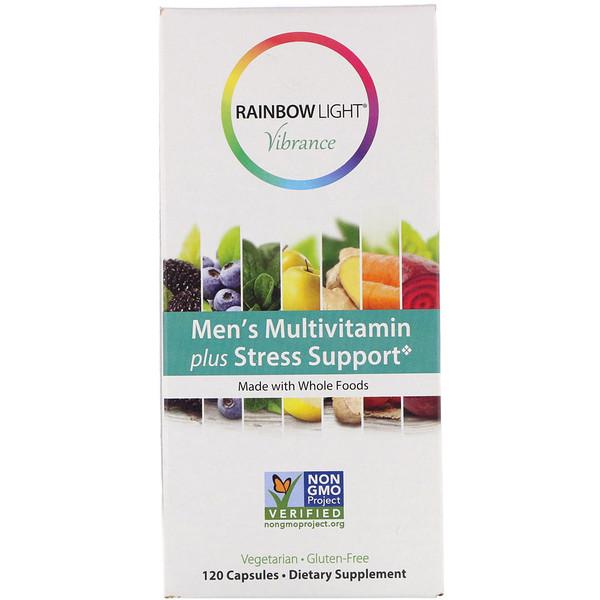 Rainbow Light, Vibrance, мультивитамины для мужчин, поддержка при стрессе, 120капсул