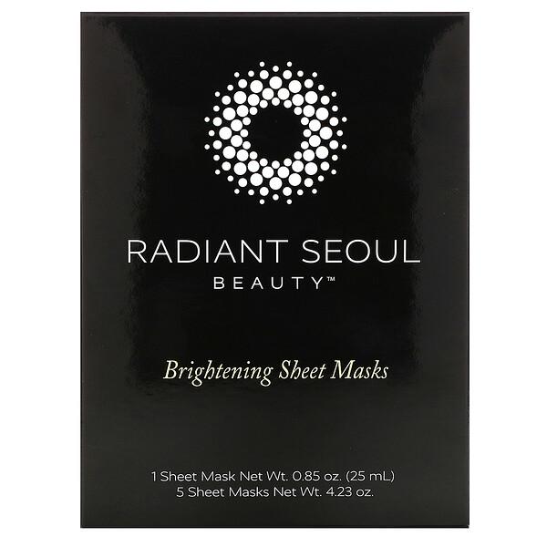 Radiant Seoul, осветляющая тканевая маска, 5шт. по 25мл (0,85унции)