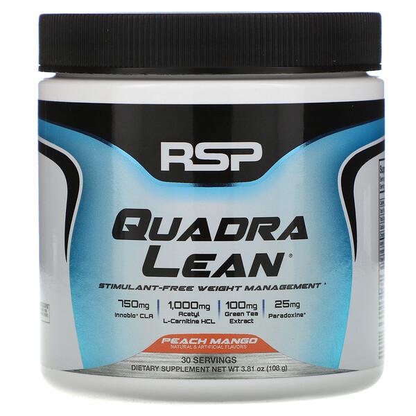 QuadraLean, Stimulant-Free Weight Management, Peach Mango, 3.81 oz (108 g)