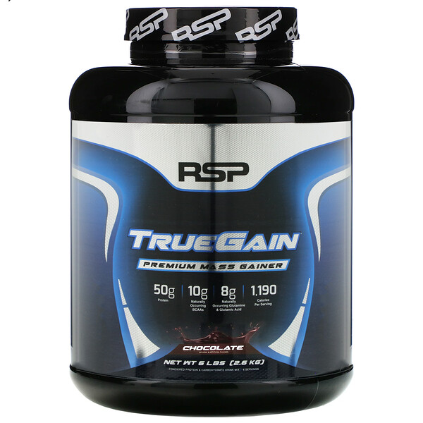TrueGain Premium Mass Gainer, Chocolate, 6 lbs (2.6 kg)