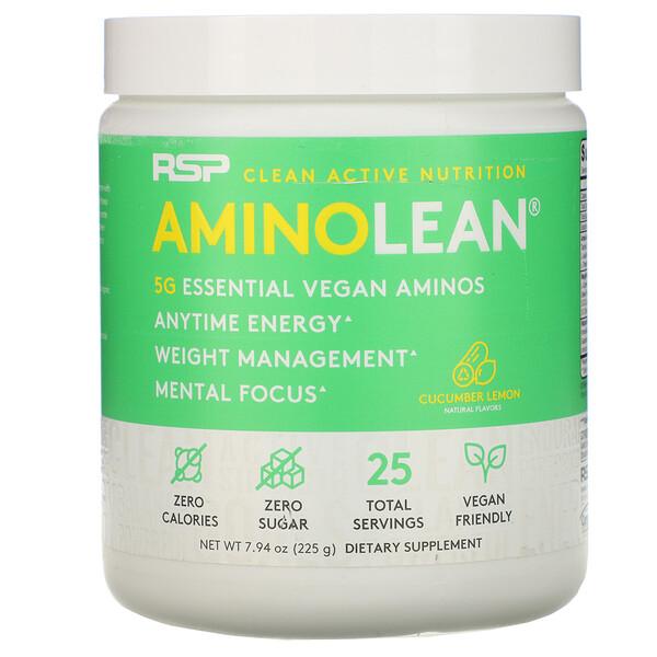 AminoLean, Essential Vegan Aminos, Cucumber Lemon, 7.94 oz (225 g)