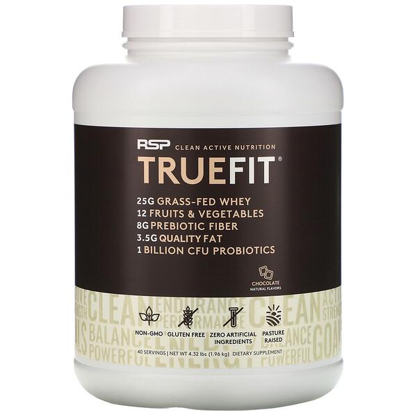 TrueFit, сывороточный протеиновый коктейль из экологически чистых ингредиентов, шоколад, 1,92 кг (4,23 фунта)