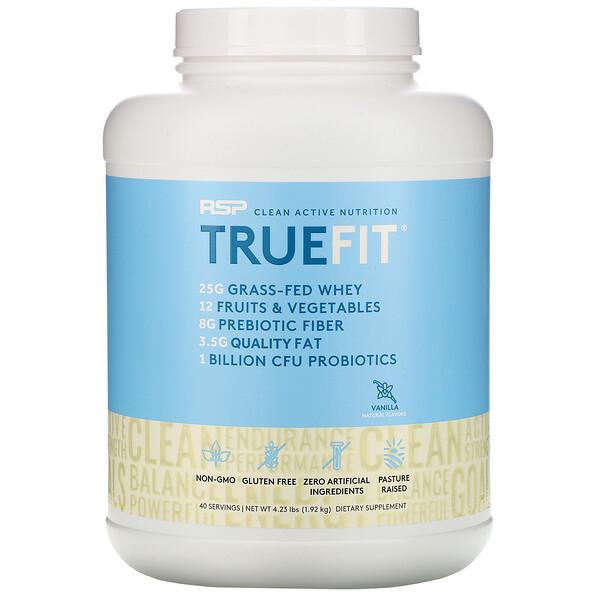 TrueFit, Grass-Fed Whey Protein Shake, Vanilla, 4.23 lbs (1.92 kg)