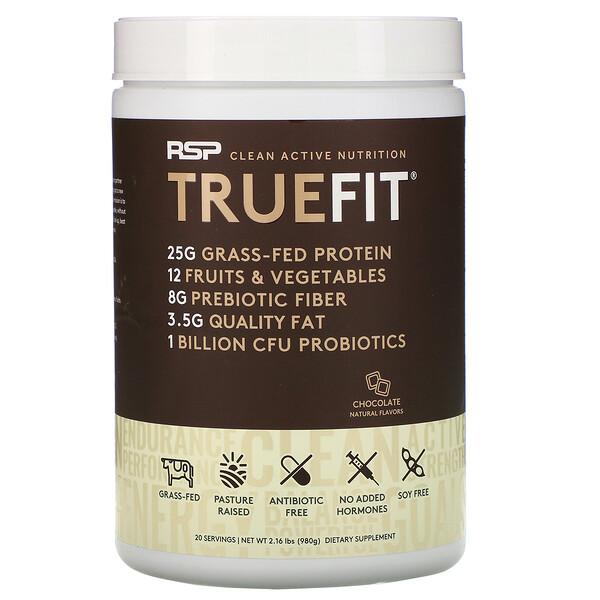 TrueFit, сывороточный протеиновый коктейль из экологически чистых ингредиентов, шоколад, 940г (2фунта)