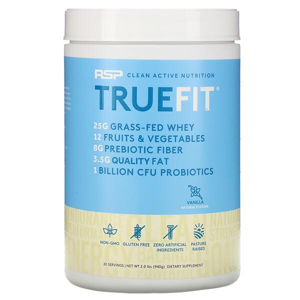 TrueFit, сывороточный протеиновый коктейль из экологически чистых ингредиентов, ваниль, 940г (2фунта)