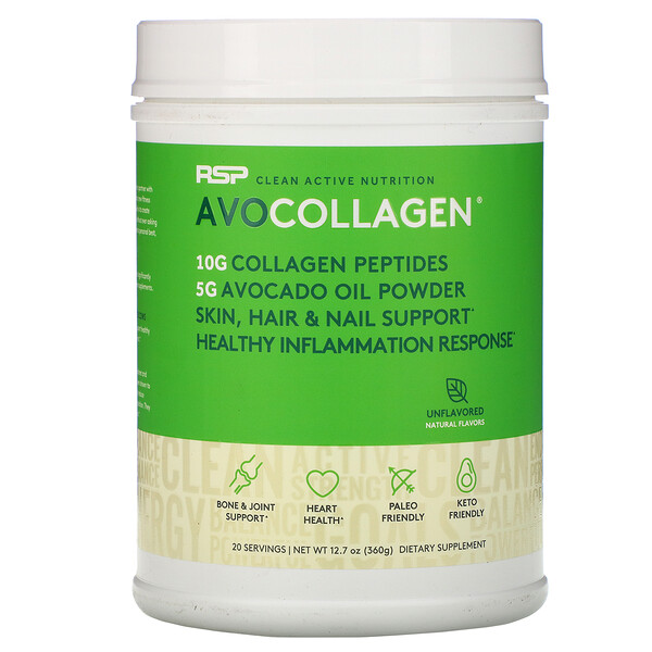 AvoCollagen, пептиды коллагена и масло авокадо в виде порошка, без добавок, 360г