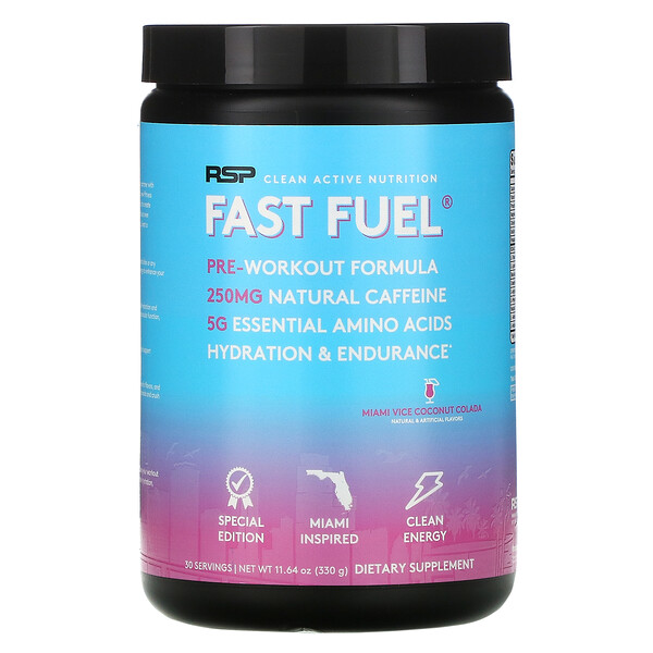 Fast Fuel, Pre-Workout Formula, Hydration & Endurance, Miami Vice Coconut Colada, 11.64 oz (330 g)