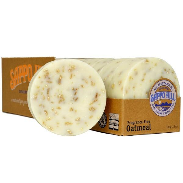 Глицериновое крем-мыло, с овсом, без отдушек, 12 батончиков, 3,5 унции (100 г) каждый