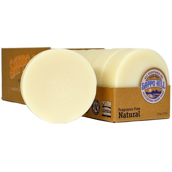 Глицериновое крем-мыло, натуральное, без запаха, 12 брусков по 3.5 унций (100 г)