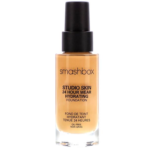 Smashbox, Studio Skin 24 Hour Wear Hydrating Foundation 2.4 Light Medium with Warm Peach Undertone, 1 fl oz (30 ml)