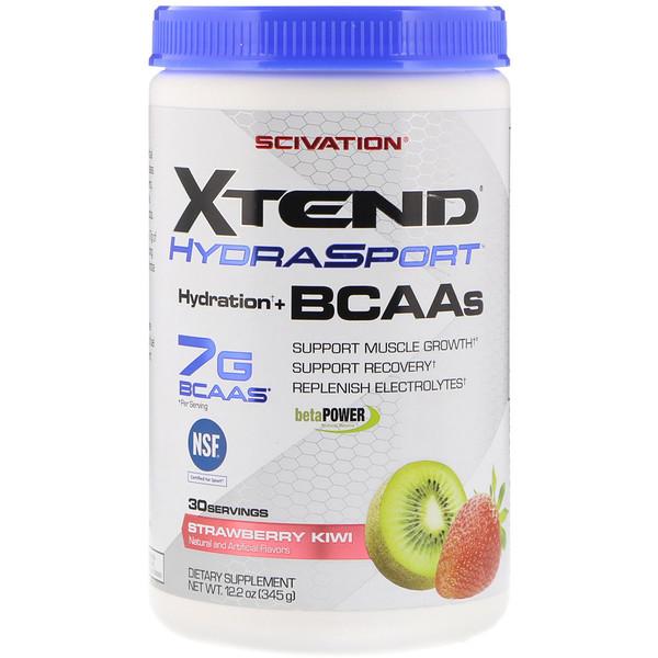 Xtend, HydraSport, добавка для поддержки водного баланса с аминокислотами с разветвленной цепью, со вкусом клубники и киви, 345г (12,2унции) (Discontinued Item)