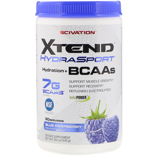 Scivation, Xtend HydraSport, увлажнение + BCAA, голубая малина, 12,2 унции (345 г) (Discontinued Item)