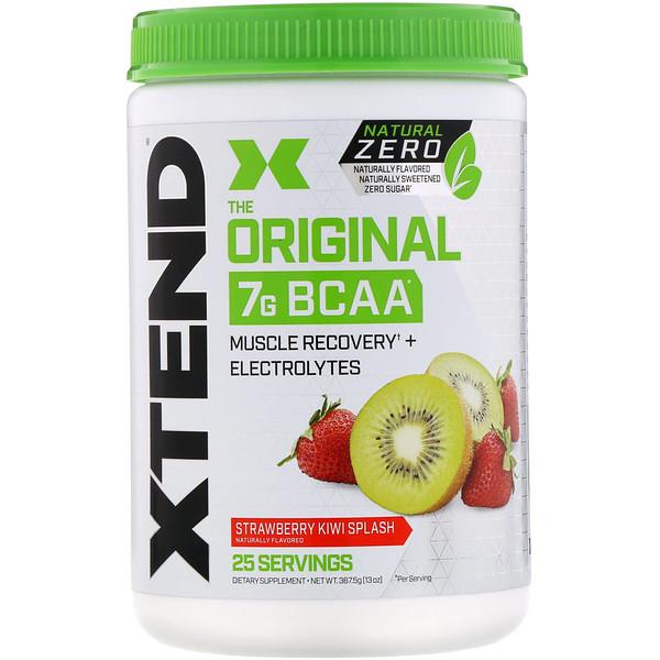 Xtend, The Original, Natural Zero, 7г аминокислот с разветвленной цепью (BCAA), со вкусом клубники и киви, 367,5г (13унций)