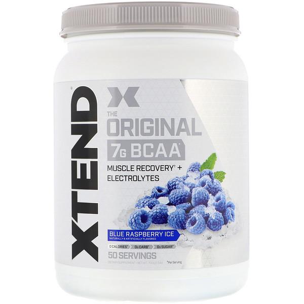 Xtend, The Original, 7г аминокислот с разветвленной цепью (BCAA), фруктовый лед со вкусом голубой малины, 700кг (1,5фунта)