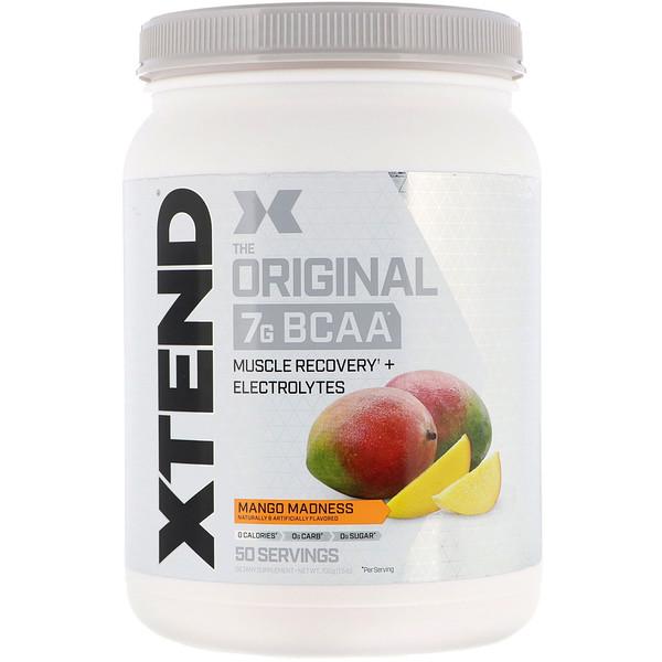 Scivation, Xtend, The Original, 7г аминокислот с разветвленной цепью (BCAA), манго, 700г (1,5фунта)