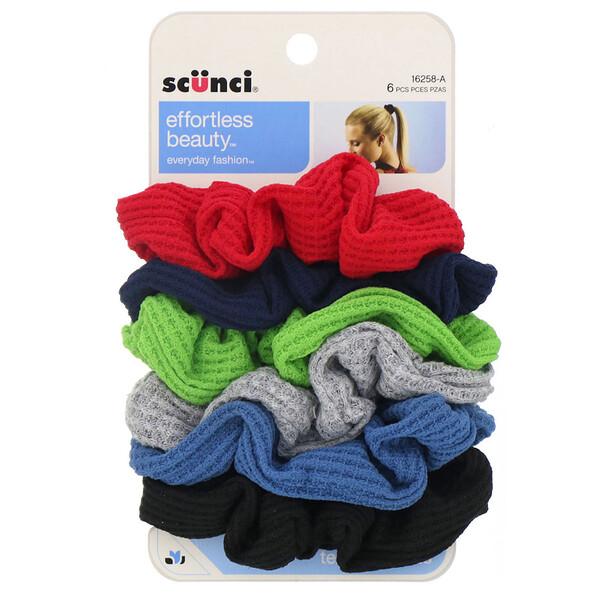 Scunci, Текстурные резинки для волос Effortless Beauty, разные цвета, 6штук