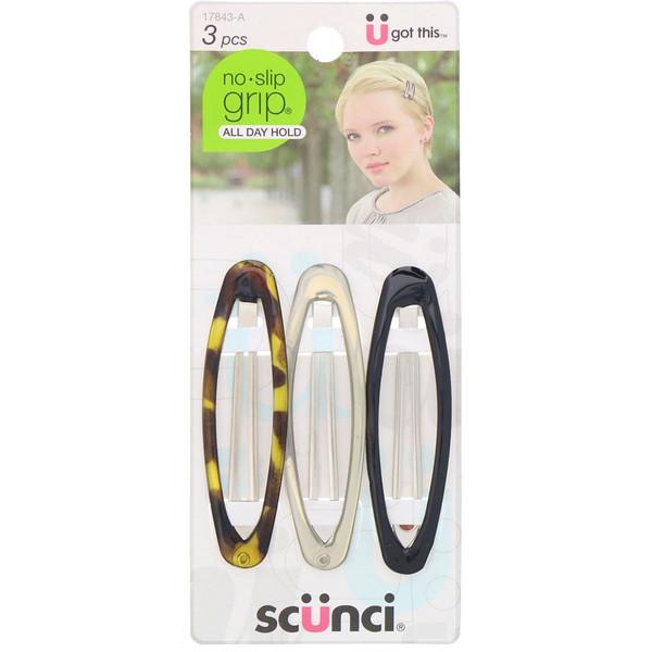 Овальные зажимы для волос No Slip Grip, удерживают волосы весь день, разные цвета, 3штуки