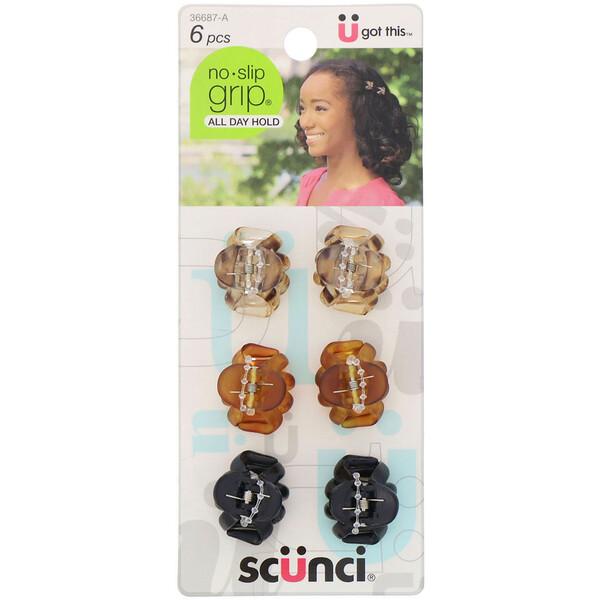 Маленькие заколки-крабы No Slip Grip, разные цвета, 6штук