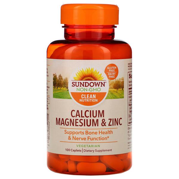 Sundown Naturals, Кальций, магний и цинк, 100 капсуловидных таблеток