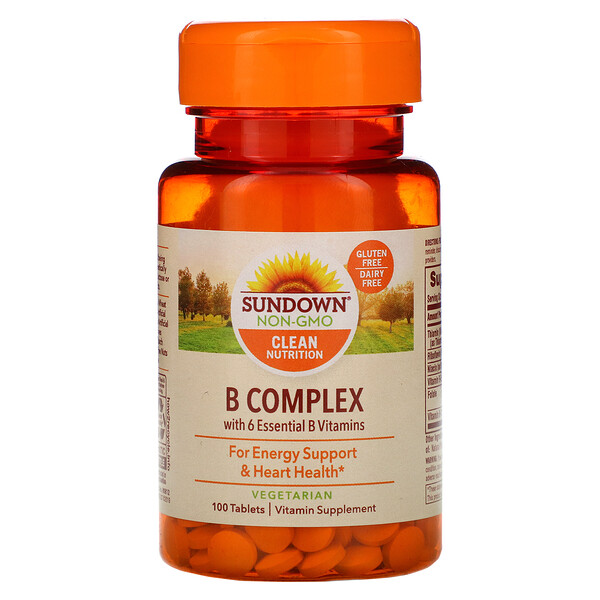 Sundown Naturals, Комплекс витаминов группыВ, 100таблеток