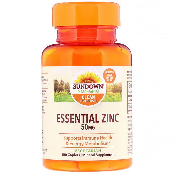 Sundown Naturals, Essential Zinc, 50 mg, 100 Caplets (Discontinued Item)