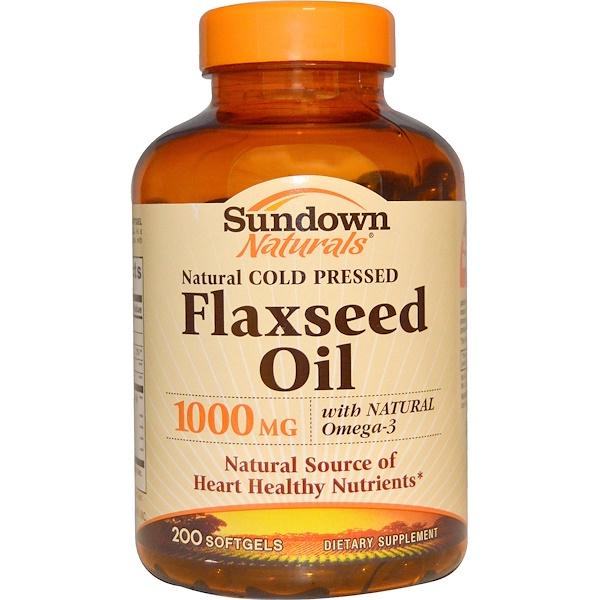 Sundown Naturals, Льняное масло 1000 мг, 200 капсул (Discontinued Item)