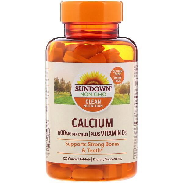 Sundown Naturals, Кальций, плюс витаминD3, 600мг, 120таблеток, покрытых оболочкой (Discontinued Item)