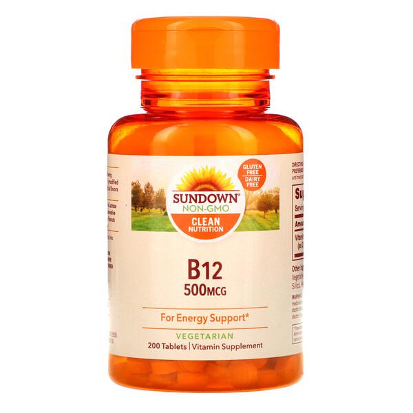 Sundown Naturals, B-12, 500мкг, 200таблеток