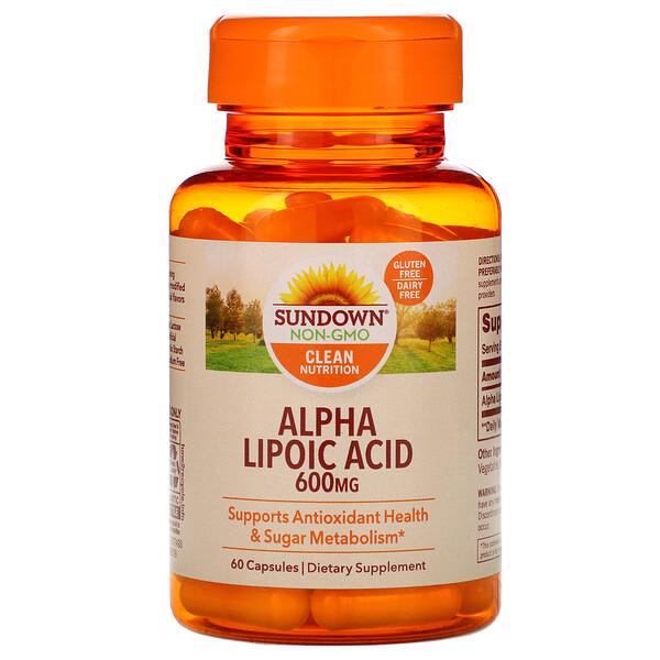 Sundown Naturals, Альфа-липоевая кислота, 600мг, 60капсул