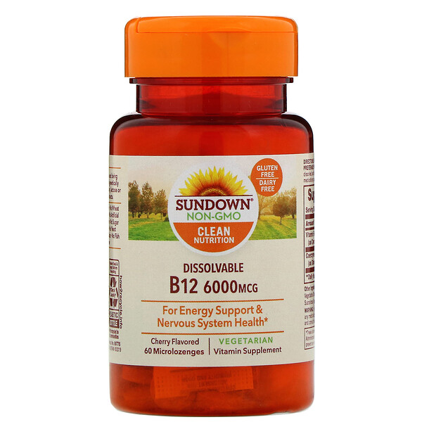 ВитаминB12 для рассасывания, ароматизатор «Вишня», 6000мкг, 60микропастилок для рассасывания