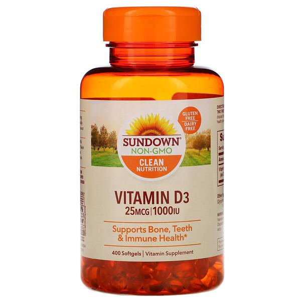 Sundown Naturals, Витамин D3, 25 мкг (1000 МЕ), 400 мягких таблеток