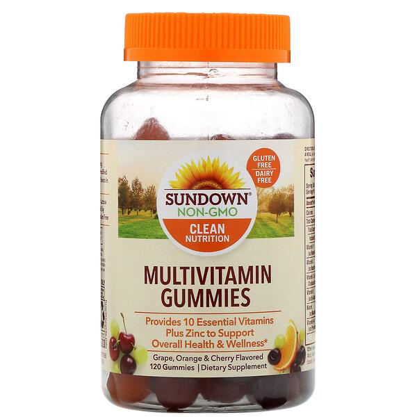 Sundown Naturals, Мультивитаминные жевательные конфеты, со вкусом винограда, апельсина и вишни, 120шт.