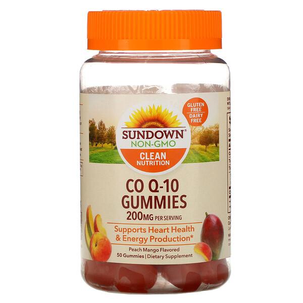 Sundown Naturals, Жевательные таблетки Co Q-10, со вкусом персика и манго, 200 мг, 50 жевательных таблеток