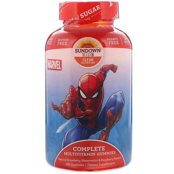 Sundown Naturals Kids, Компекс мультивитаминов в жевательных таблетках, Marvel Spiderman, с натуральными ароматизатороами клубники, арбуза и малины, 180 жевательных таблеток