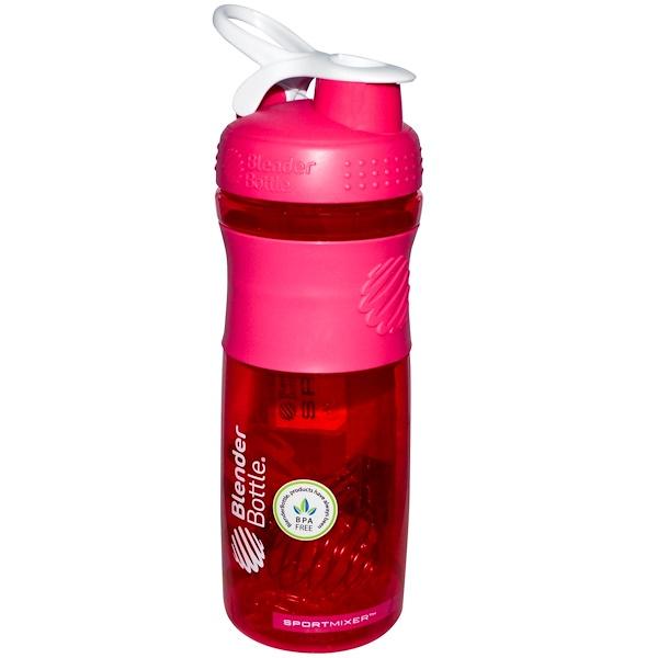 Blender Bottle, BlenderBottle, SportMixer Tritan Grip, Pink/White, 28 oz (Discontinued Item)
